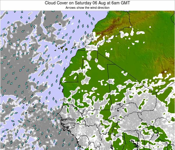 Cape Verde Cloud Cover on Saturday 26 Apr at 12pm GMT