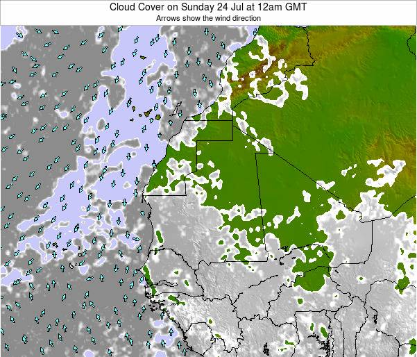 Guinea Cloud Cover on Wednesday 22 May at 6am GMT