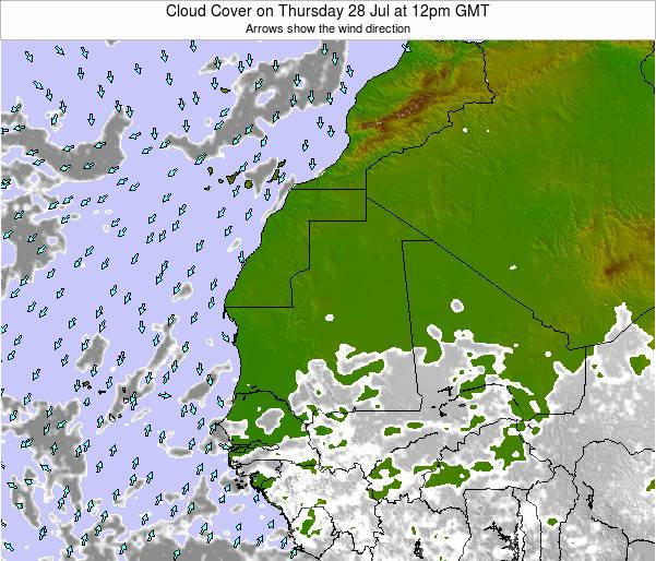 Senegal Cloud Cover on Sunday 09 Mar at 6pm GMT
