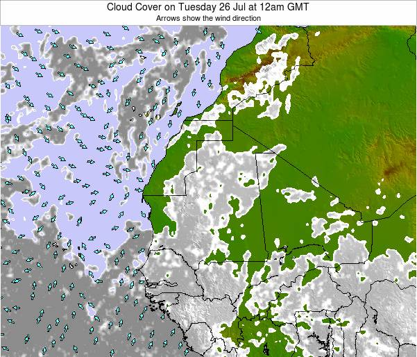 Senegal Cloud Cover on Friday 25 Apr at 6pm GMT
