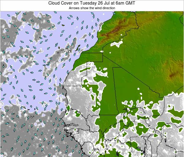 Senegal Cloud Cover on Thursday 25 Dec at 6am GMT