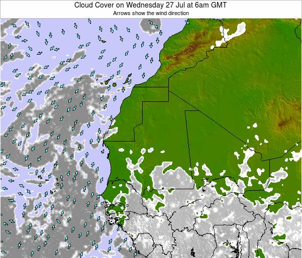 Senegal Cloud Cover on Monday 27 May at 12am GMT