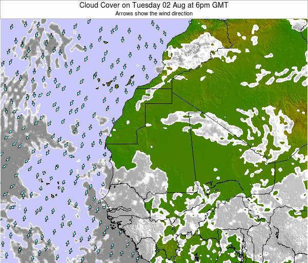 Sierra Leone Cloud Cover on Monday 27 Mar at 12pm GMT