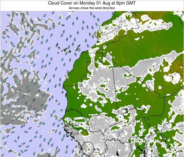 Sierra Leone Cloud Cover on Thursday 02 Jul at 12pm GMT
