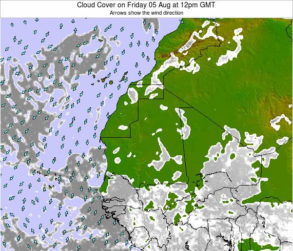 Senegal Cloud Cover on Sunday 03 Aug at 6pm GMT
