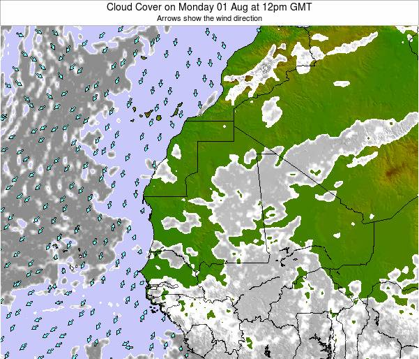 Senegal Cloud Cover on Saturday 26 Jul at 12pm GMT