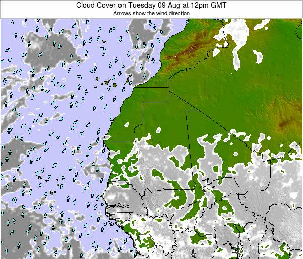 Guinea Cloud Cover on Thursday 23 May at 12pm GMT
