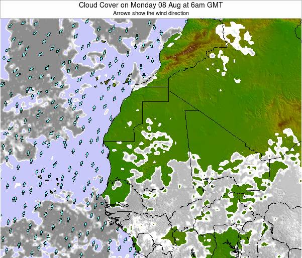 Cape Verde Cloud Cover on Thursday 31 Jul at 12pm GMT