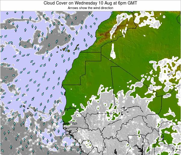 Guinea Cloud Cover on Saturday 19 Apr at 6pm GMT
