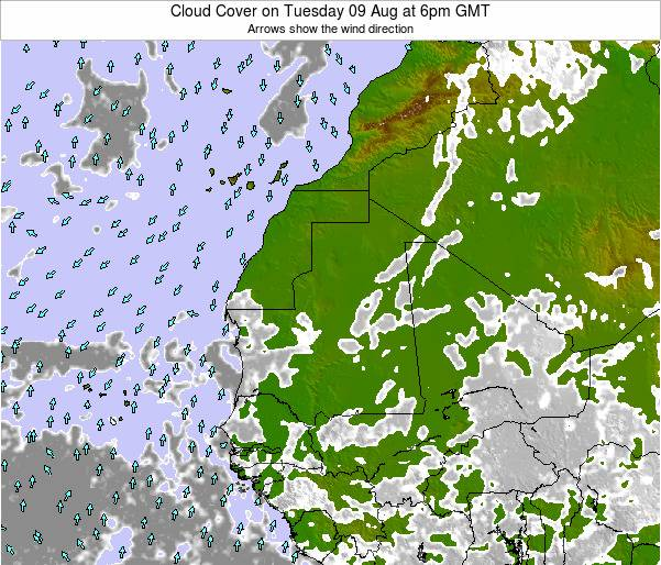 Guinea Cloud Cover on Sunday 27 Apr at 6pm GMT