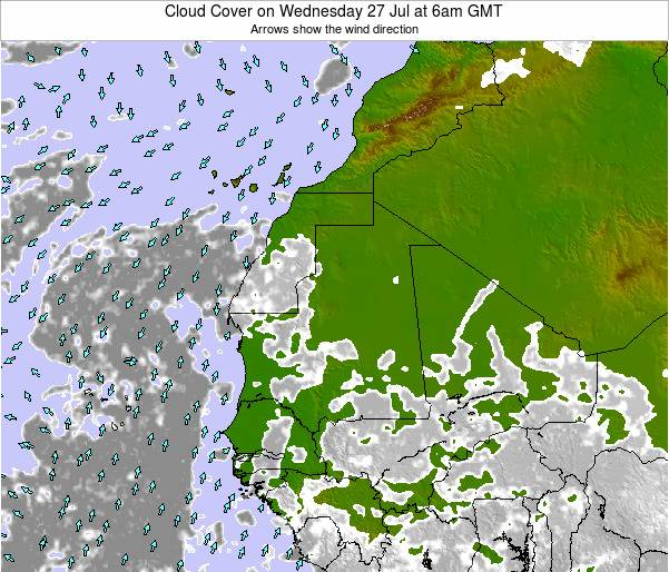 Senegal Cloud Cover on Sunday 26 May at 12am GMT