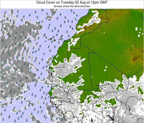 Cape Verde Cloud Cover on Sunday 26 May at 6pm GMT