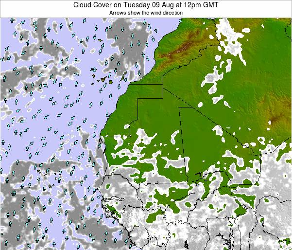 Senegal Cloud Cover on Wednesday 30 Jul at 12am GMT