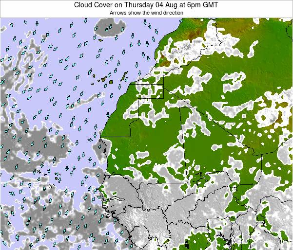 Senegal Cloud Cover on Thursday 31 Jul at 6pm GMT