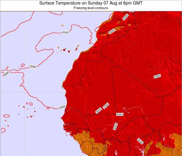 Gambia Surface Temperature on Saturday 02 Aug at 12pm GMT map
