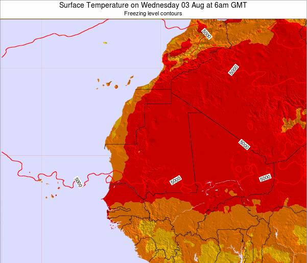 Gambia Surface Temperature on Wednesday 01 Oct at 6am GMT