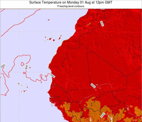 Gambia Surface Temperature on Friday 13 Dec at 12am GMT map