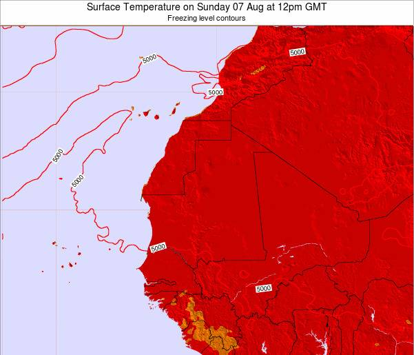 Gambia Surface Temperature on Saturday 26 Jul at 6pm GMT map