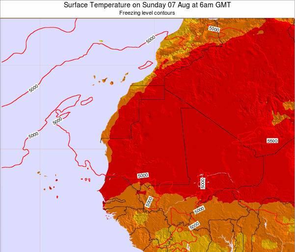 Gambia Surface Temperature on Thursday 23 May at 12pm GMT map