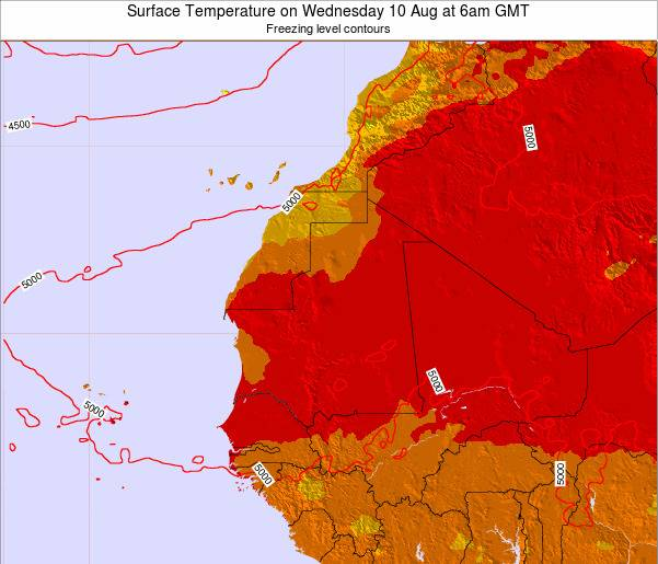 Gambia Surface Temperature on Monday 21 Apr at 12am GMT