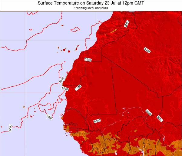 Gambia Surface Temperature on Tuesday 26 May at 6pm GMT