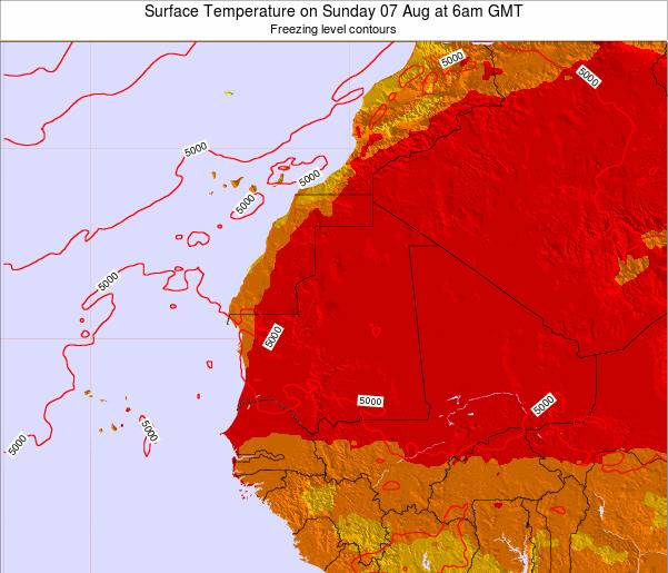 Senegal Surface Temperature on Monday 27 May at 12am GMT