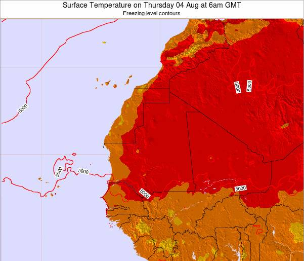 Gambia Surface Temperature on Saturday 27 Dec at 12pm GMT