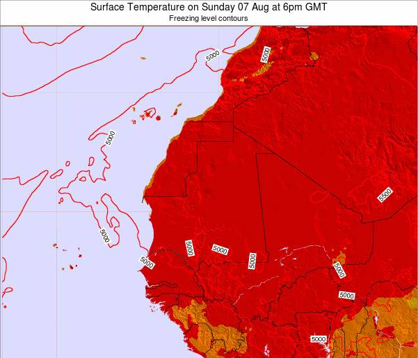 Gambia Surface Temperature on Tuesday 29 Apr at 6am GMT