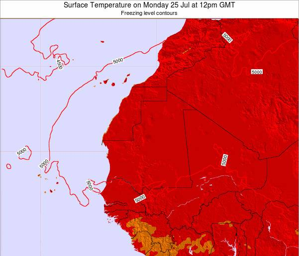 Gambia Surface Temperature on Friday 22 Dec at 6pm GMT map