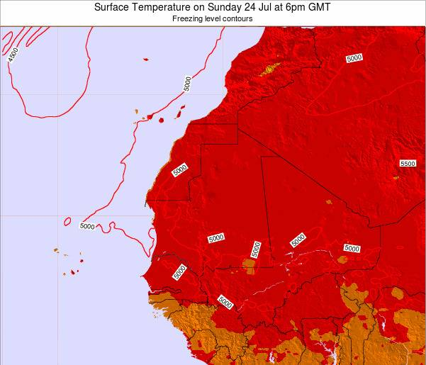 Gambia Surface Temperature on Monday 27 Feb at 6pm GMT