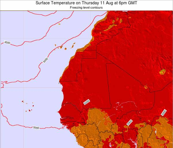 Gambia Surface Temperature on Wednesday 25 Oct at 6am GMT