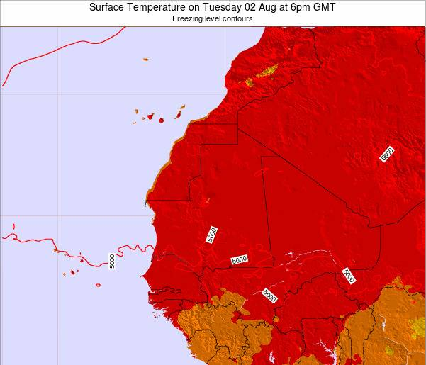 Gambia Surface Temperature on Thursday 26 Dec at 12am GMT