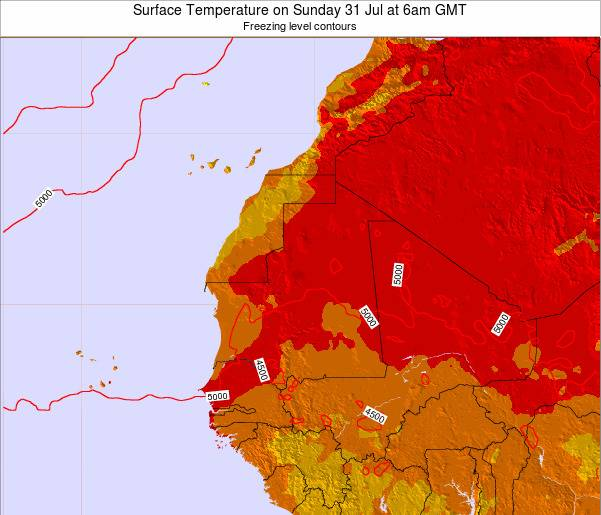 Gambia Surface Temperature on Tuesday 28 Oct at 12pm GMT