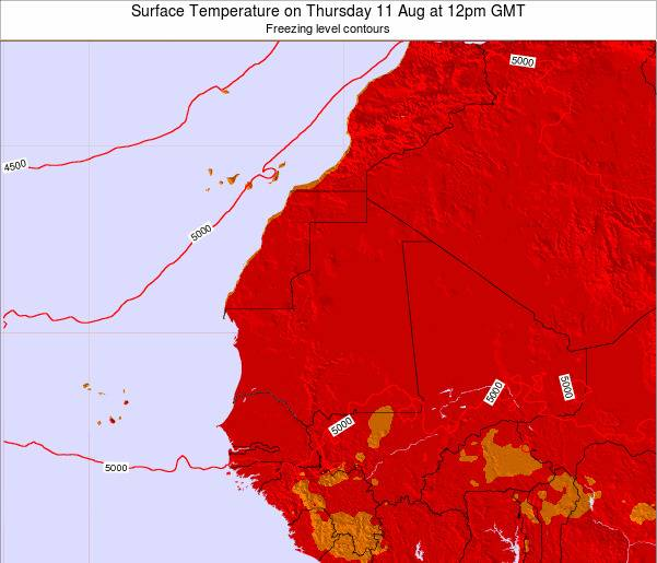 Gambia Surface Temperature on Thursday 13 Mar at 12am GMT