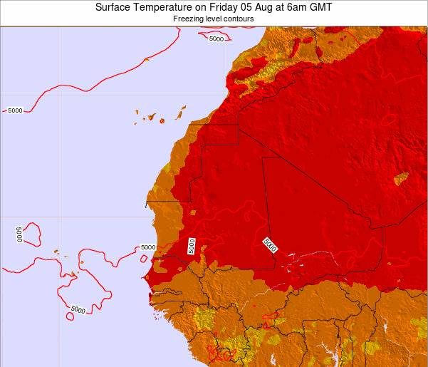 Gambia Surface Temperature on Friday 24 May at 6am GMT map