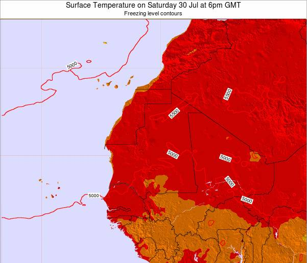 Gambia Surface Temperature on Saturday 26 Apr at 6pm GMT