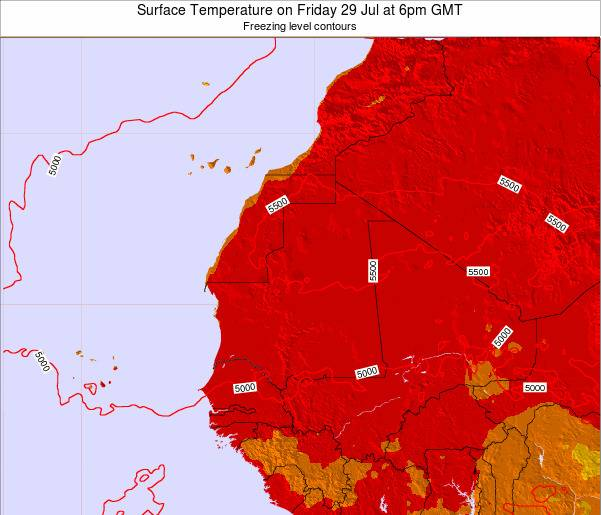 Gambia Surface Temperature on Tuesday 25 Jun at 6am GMT