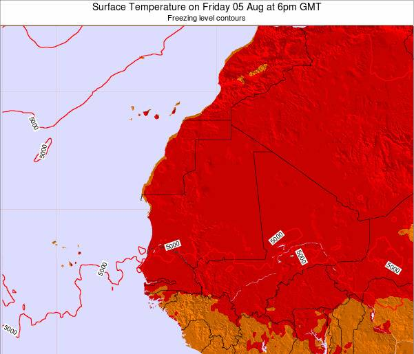 Gambia Surface Temperature on Saturday 16 Dec at 6pm GMT map