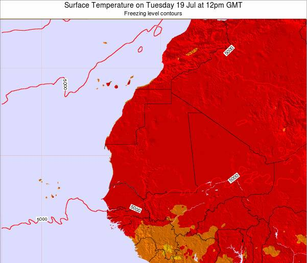 Gambia Surface Temperature on Monday 16 Dec at 12am GMT