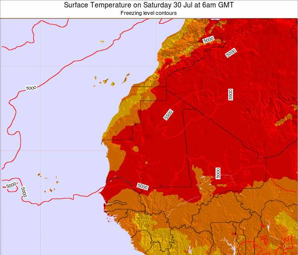 Gambia Surface Temperature on Sunday 03 Aug at 12am GMT