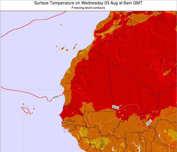 Gambia Surface Temperature on Thursday 31 Jul at 6pm GMT