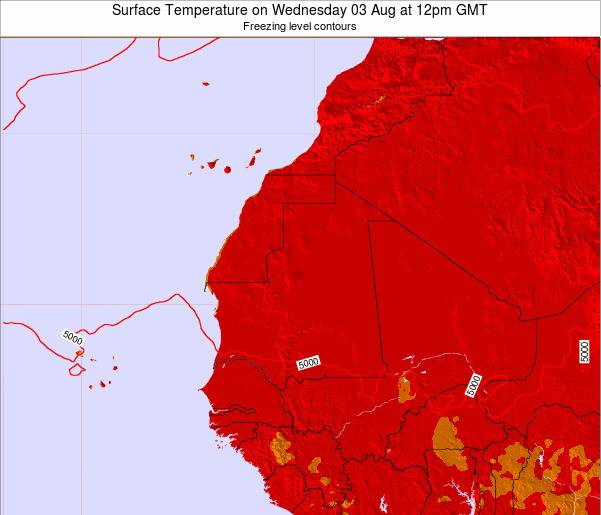 Gambia Surface Temperature on Tuesday 22 Apr at 6am GMT