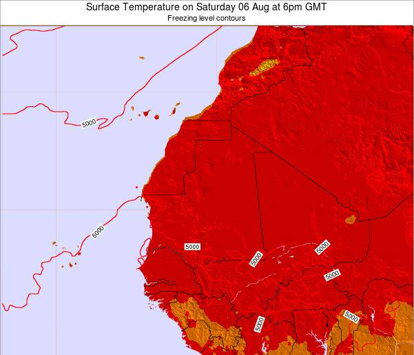 Gambia Surface Temperature on Thursday 07 Aug at 6am GMT