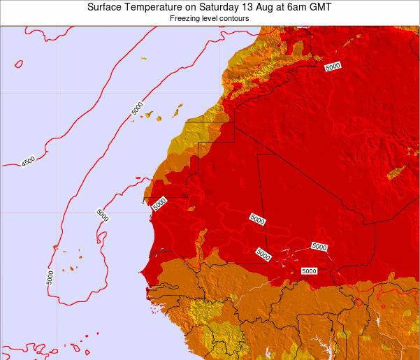 Gambia Surface Temperature on Friday 24 May at 12pm GMT