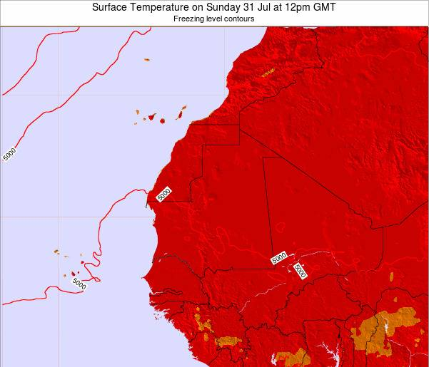 Gambia Surface Temperature on Thursday 31 Jul at 6am GMT