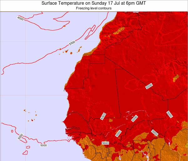 Liberia Surface Temperature on Sunday 26 May at 12am GMT