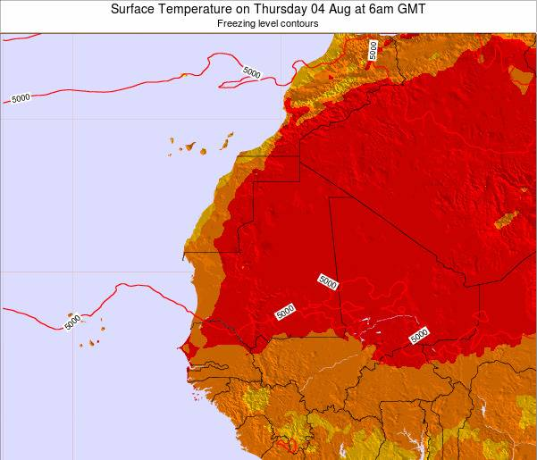 Gambia Surface Temperature on Thursday 08 Dec at 6pm GMT
