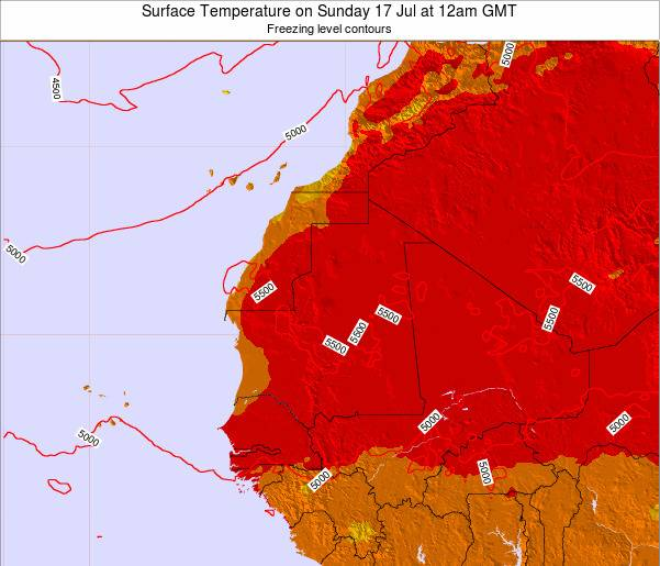 Gambia Surface Temperature on Monday 20 May at 12am GMT