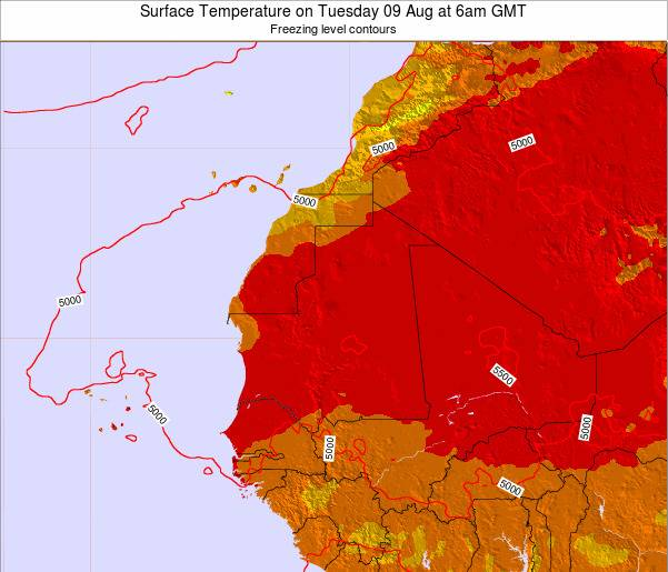 Gambia Surface Temperature on Friday 13 Dec at 12am GMT