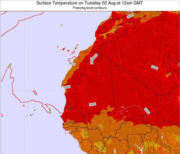Gambia Surface Temperature on Monday 22 Sep at 6pm GMT